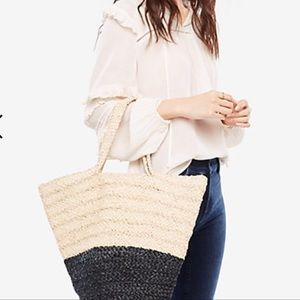 ANN TAYLOR Colorblock Straw Bag 1Ofp8Q